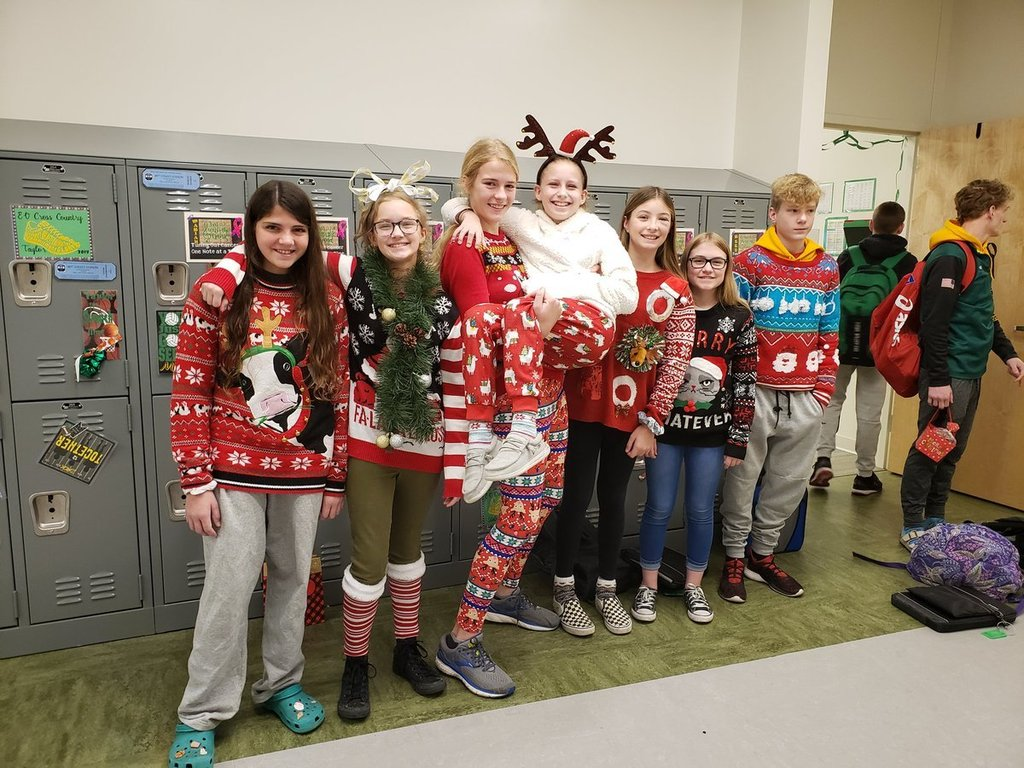 Students participate in an ugly sweater contest